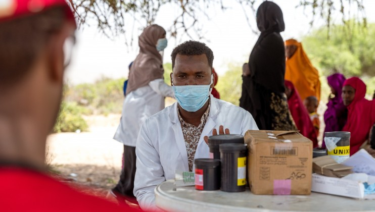Dalow mobile clinic at Sahil region Somaliland, 30th June 2021. Hussein Sa'ed Hussein, a Team Leader and Child Health Nurse, during the interview