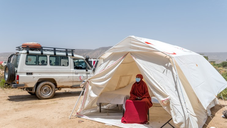 Dalow mobile clinic at Sahil region Somaliland, 30th June 2021. Safia Hassan gelle, a 55 year old Traditional Birth Attendant, during the interview