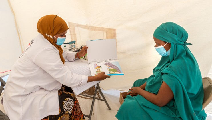 Hamdi A Rahman, a Mobile Clinic Midwife, attends to a pregnant woman at the Dalow Village in Sahil on 30h of June 2021. Hamdi has a midwifery degree