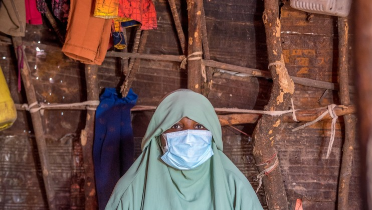 Hodan Mohamed Hersi, a pregnant mother of 4, at her home in Ainabo Camp B