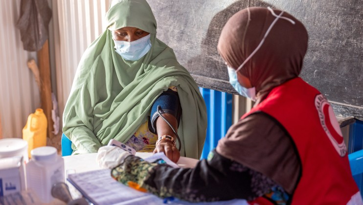Hodan Mohamed Hersi, a pregnant mother of 4, seeks Ante Natal Care services at the Ainabo Mobile Clinic