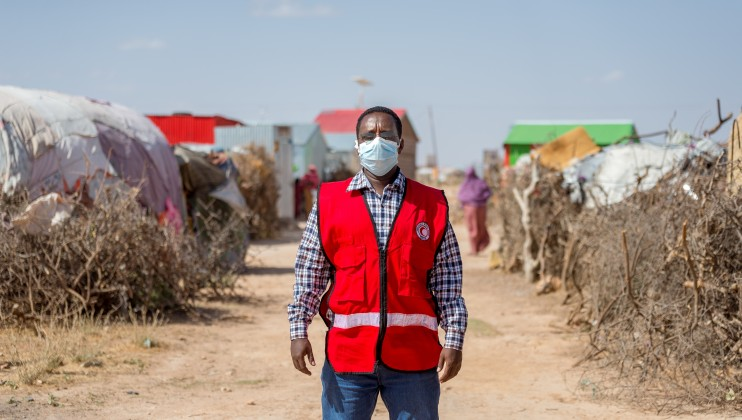 Mahmoud Tuke, SRCS Burao Branch CBS Officer, during an interview with the IFRC Media team at Ainabo IDP Camp B on 1st July 2021