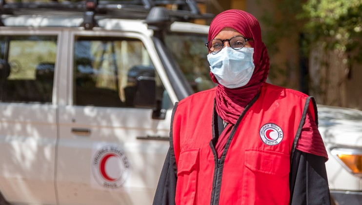 Naima Aden Umar   a SRCS Volunteer who identified the 1st confirmed Covid19 case in Somaliland on 26th of March 2020, through the Community Based Surveilla